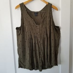 Torrid Olive Owl Pleated Sleeveless Tank 2xl